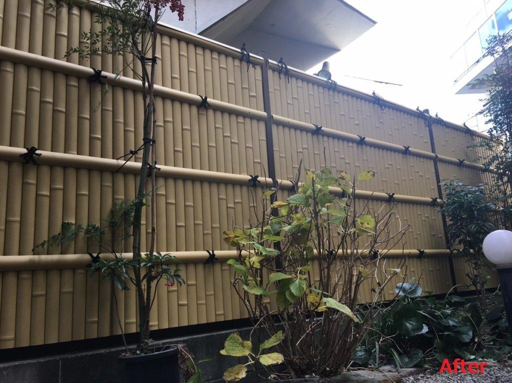 素敵な樹脂製の建仁寺垣になりました。